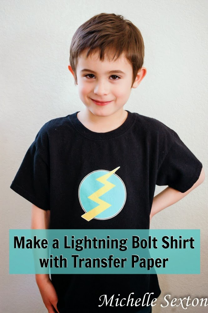 How to make a lightning bolt shirt with transfer paper - click through, get the free printable and learn how to make this shirt