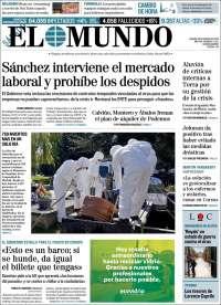 28/03/2020    UNA  PRIMERA PÁGINA DE LA PRENSA ESPAÑOLA