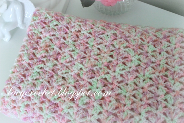 Free Crochet Pattern For Lacy Baby Blanket : Lacy Crochet: Tiny Tulips Baby Blanket, Free Crochet Pattern