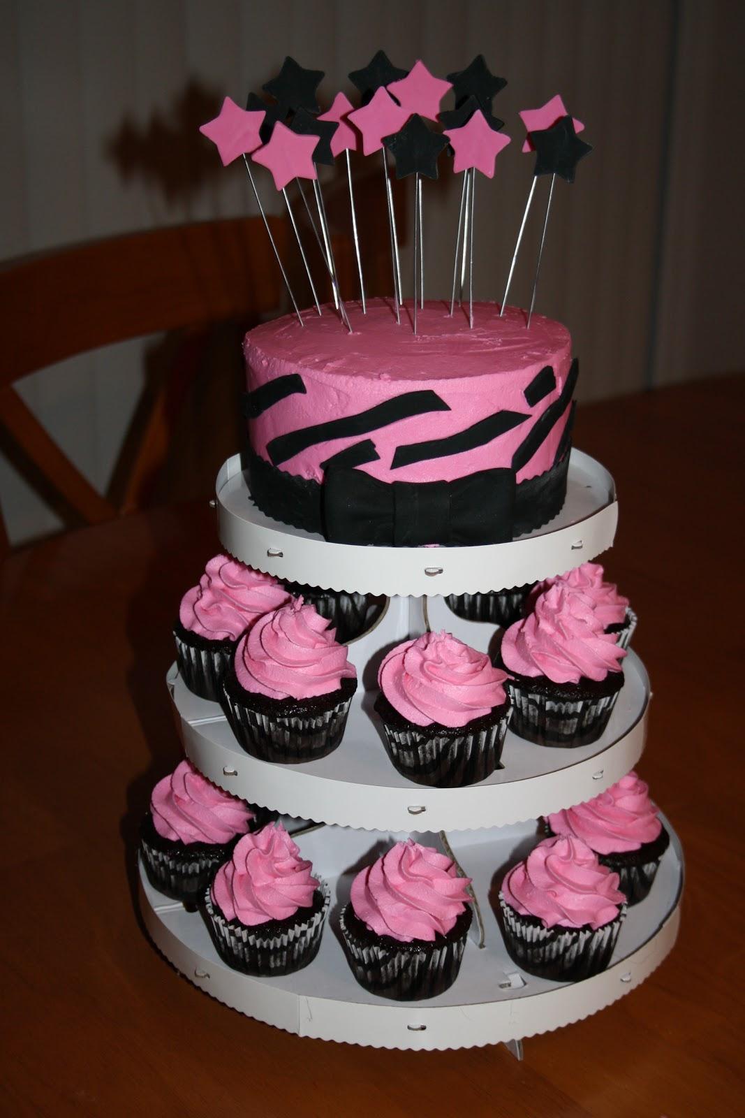Cupcake Decorating Ideas Pink And Black : JillyCakes: Black & Pink Zebra Birthday Cake/Cupcakes!