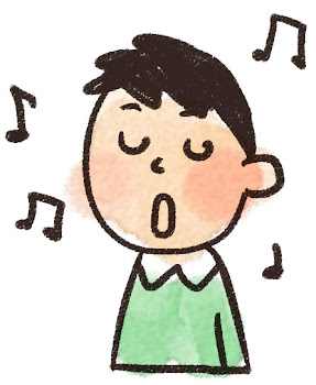 歌をうたう男の子のイラスト(合唱)