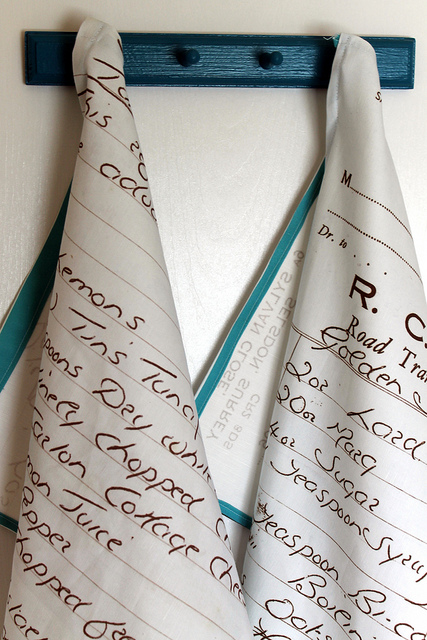 Spoonflower custom fabric made into tea towels.