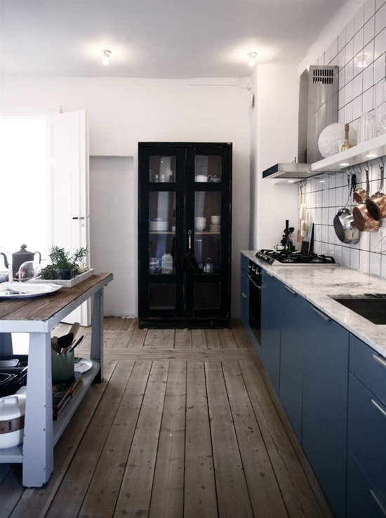 Kitchen with slate blue cabinets