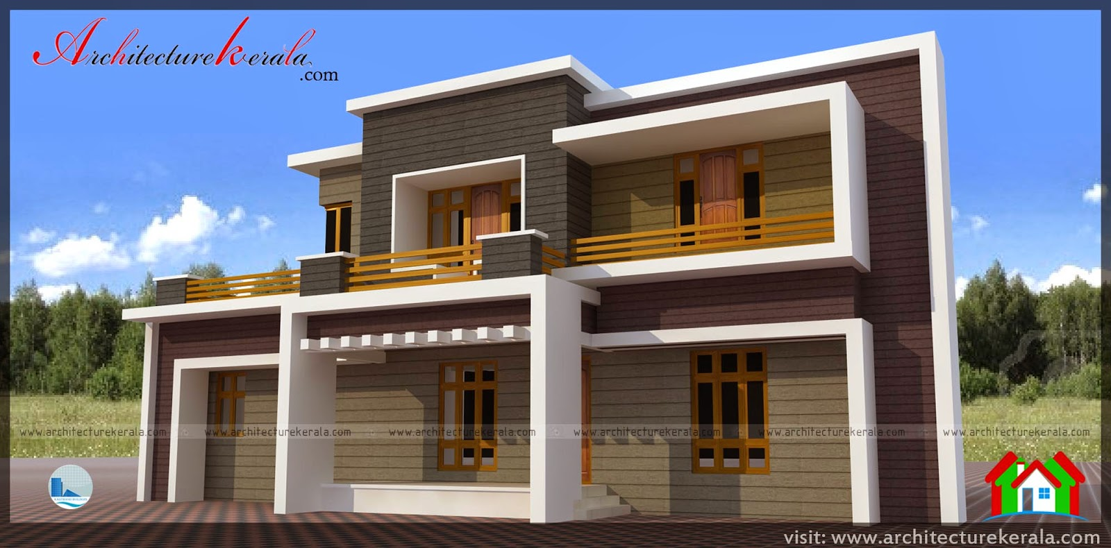 Contemporary style house plan and elevation architecture for Kerala building elevation