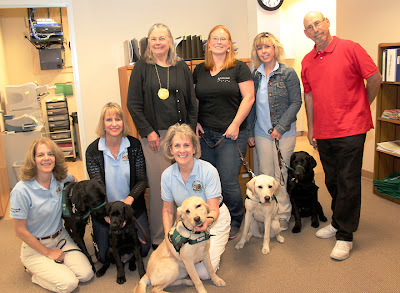 Puppy raisers from Puppies with a Vision visit State Senator Fran Pavley at her office