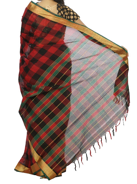 Red and Black Checks Narayanpet Cotton Saree