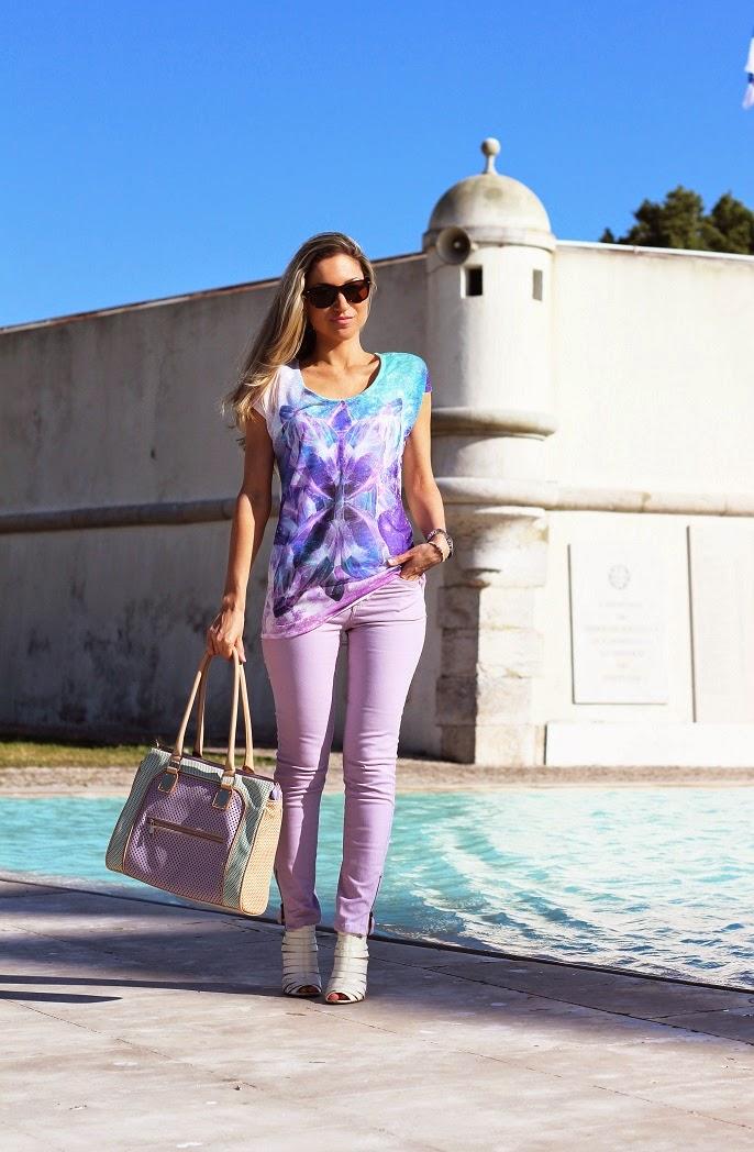 look do dia, ootd, outfit, tendências, primavera verão 2014, violeta, lilás, lavanda, lavender, mala aldo, pimkie top, miss sixty, guess, style statement, lilac jeans, dicas de imagem, consultoria de imagem, blog de moda, blogue de moda, blog de moda portugal, blogues de moda portugueses