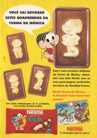 Propagandad do chocolate da Turma da Mônica em 1995. Produzido pela Nestlé.