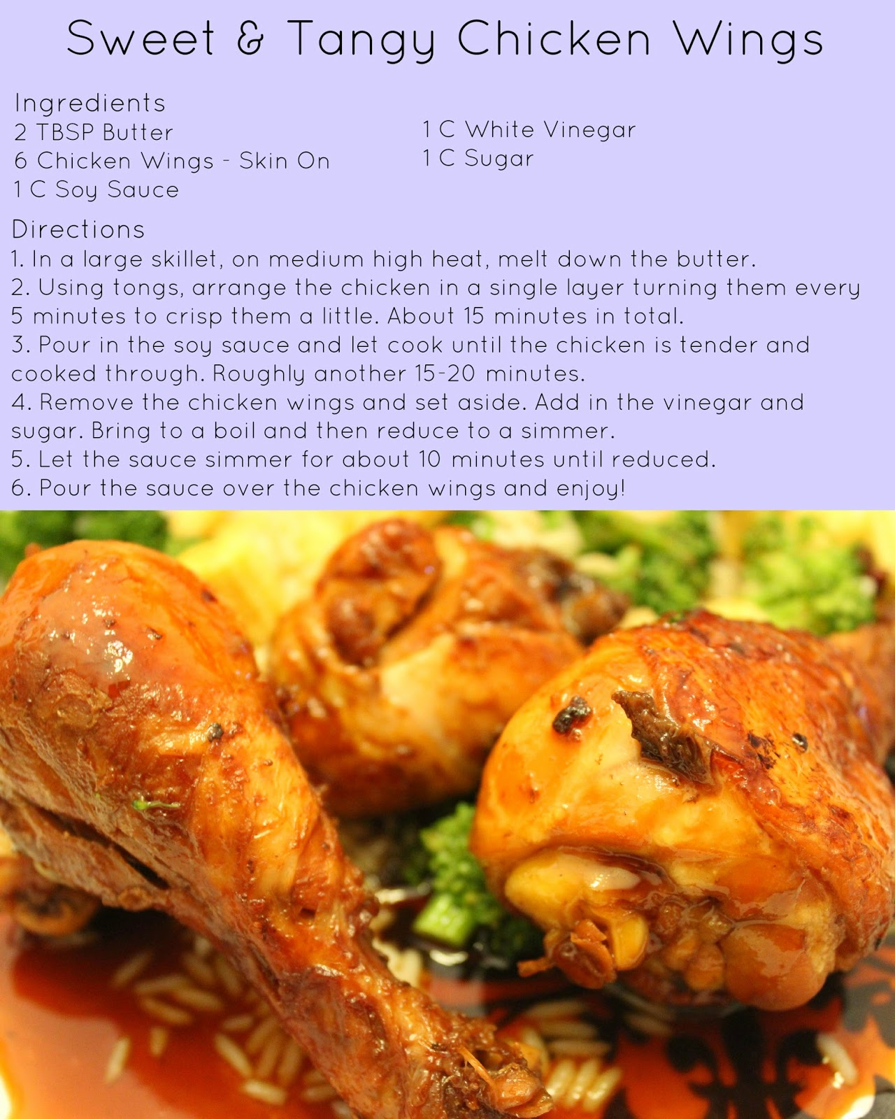 tasty tuesday, recipes, chicken wings, sweet and tangy, chicken wing recipe, asian inspired, Philippine inspired, soy sauce, vinegar, veggie rice, broccoli, baby corn, rice, white rice