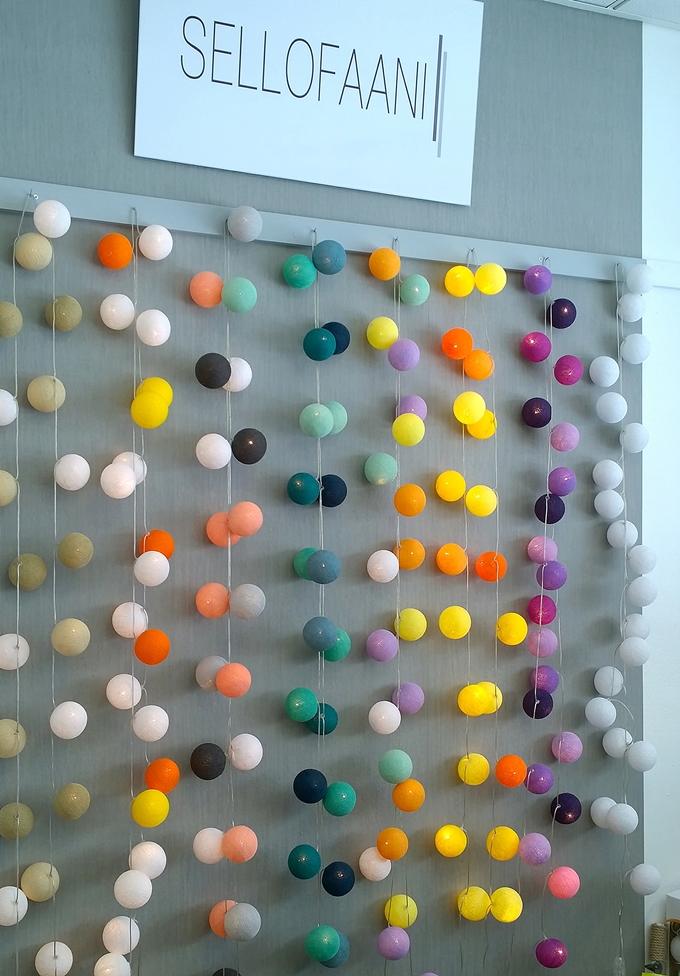 sisustuskauppa pallovalot, happylights, värikkäät pallot