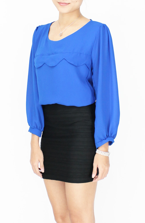 Sea Blue Wave Detail Long Sleeve Chiffon Blouse