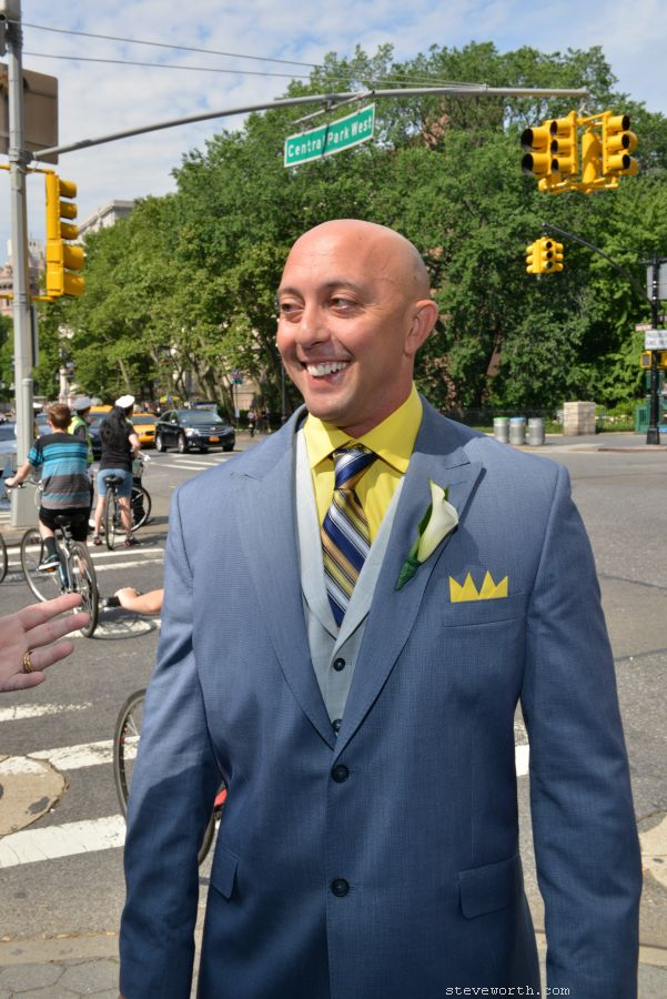 Groom arrives in Central Park for his Wedding