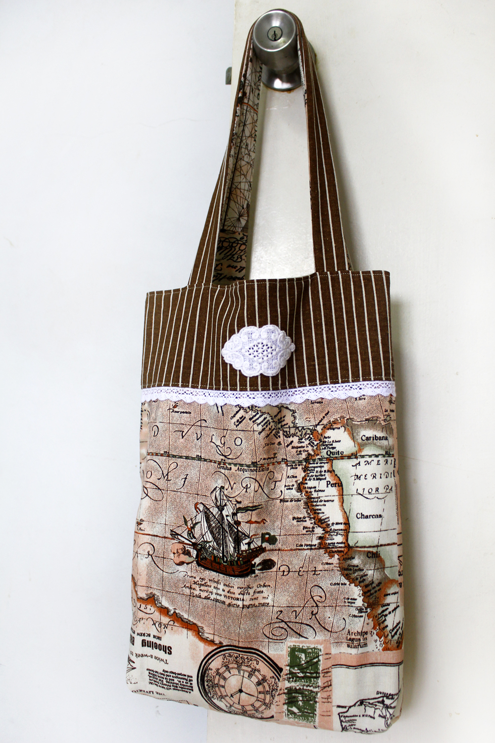 handmade tote bag, map fabric