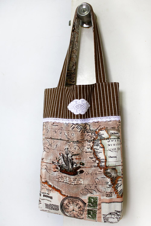 handmade tote bag, map fabric