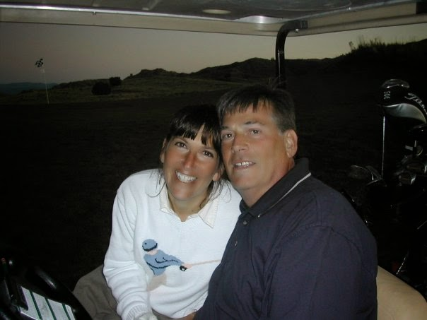 Stacy and Barry on golf course