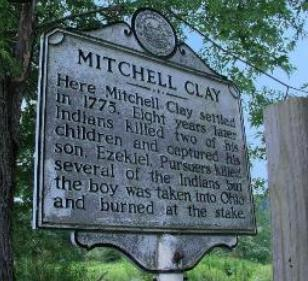 Historical marker commemorating the Mitchell Clay Indian Massacre