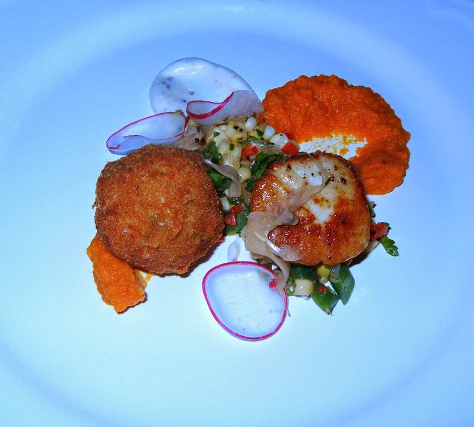scallop with a smoked sturgeon and creme fraiche croquette with carrot ...