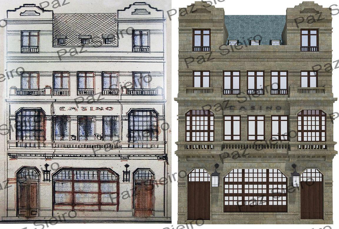 Edificio casino 1910 arquitecto daniel v zquez gul as arquitectura de papel ourense 3d - Arquitectos ourense ...