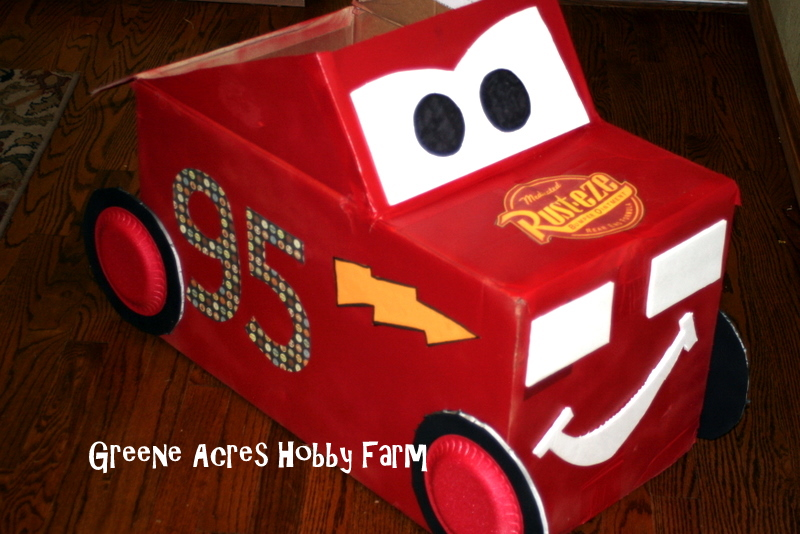 Lightning McQueen Cardboard Car by Greene Acres Hobby Farm