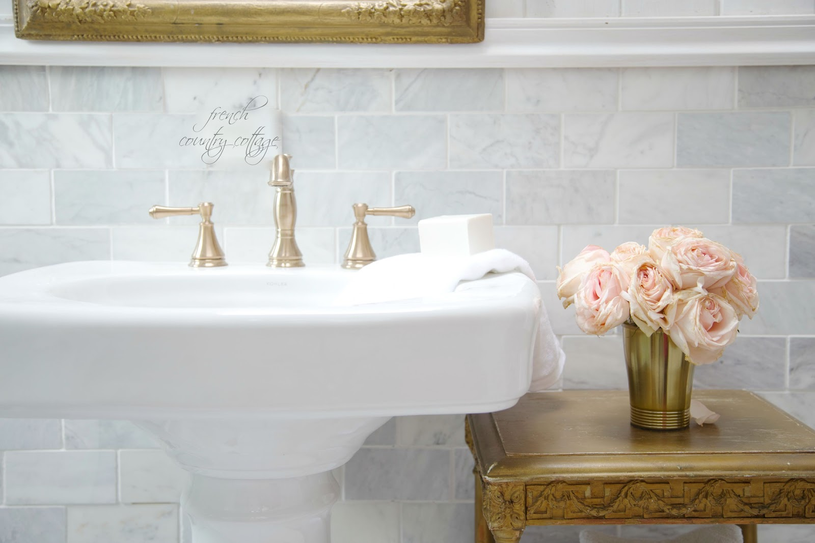 French Cottage Bathroom Renovation Reveal FRENCH COUNTRY COTTAGE - Champagne bronze bathroom faucet for bathroom decor ideas