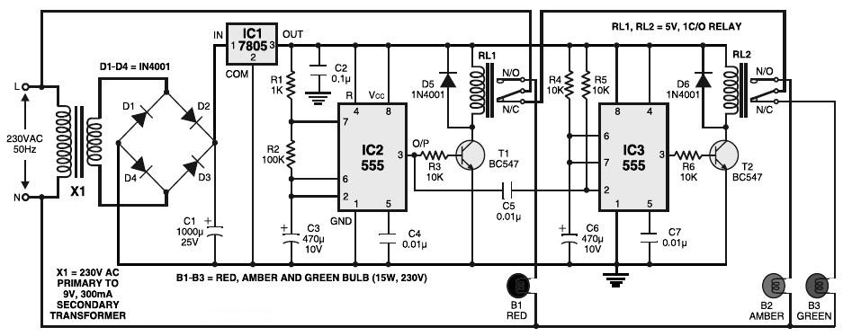 Traffic Signal Controller Circuit Diagram:  Circuits-Projectsrh:circuits-projects.blogspot.com,Design