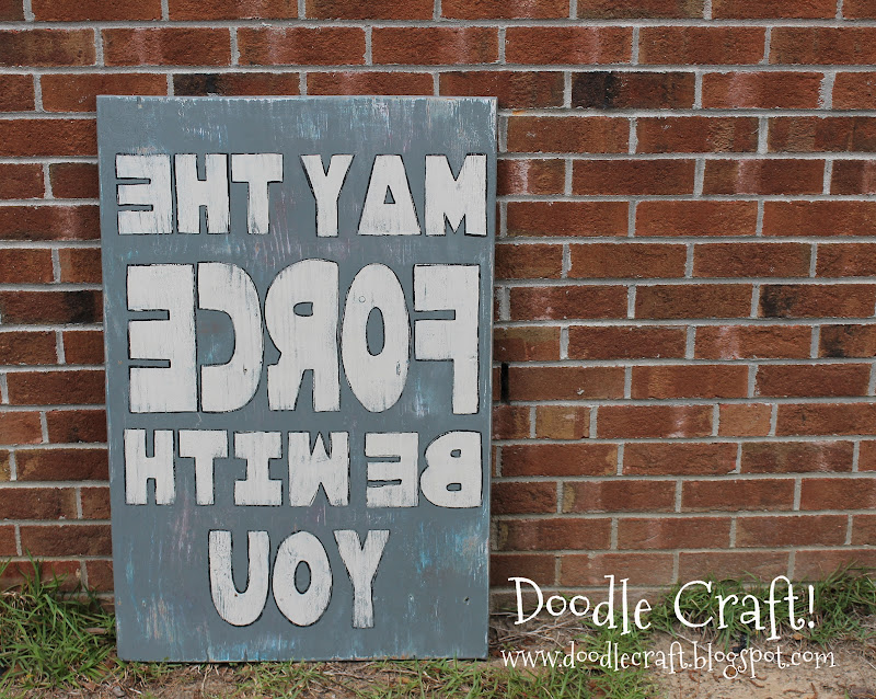Upcycled wood Star Wars Mirrored sign: May the Force be with you! title=