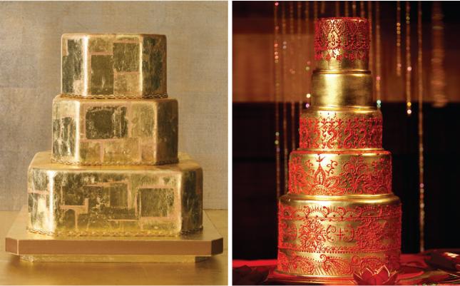 Metallic Wedding Cake from bellethemagazine.com
