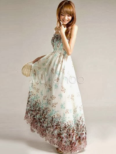 China Wholesale Clothes - Sweet White Floral Print Chiffon Spaghetti Strap Women's Maxi Dress