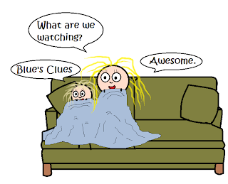 "Woman and child happily cuddled together on a green couch, underneath a light blue blanket.  Woman: ""What are we watching?"" child: ""Blue's Clues."" woman: ""Awesome."""