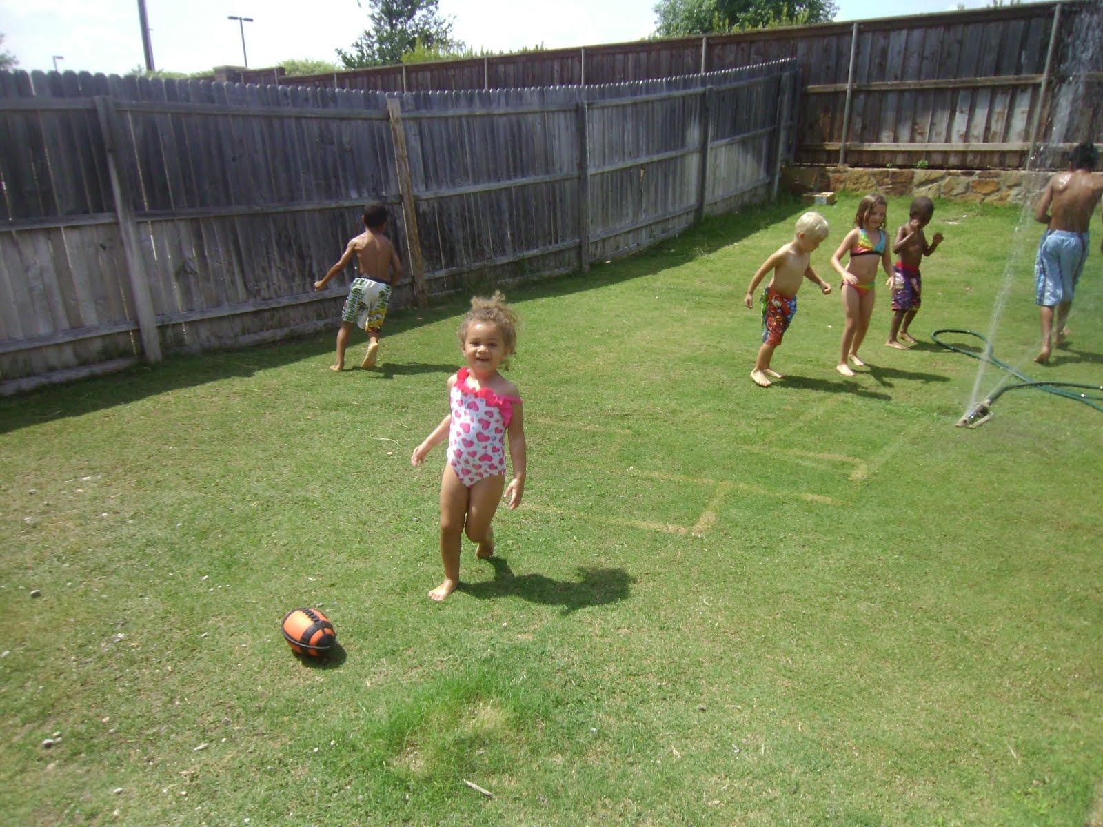 The Big Texas Hill Family: Daycare kids backyard slip n