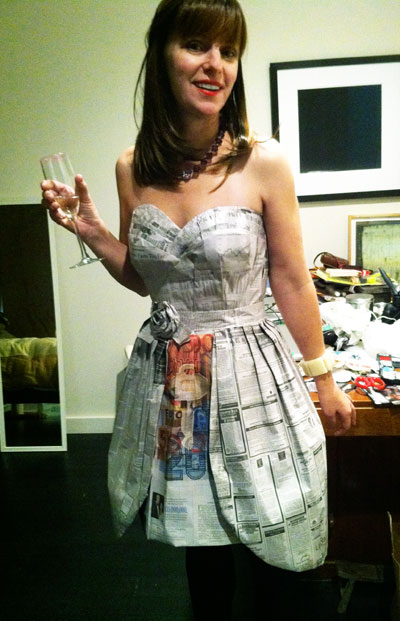 A Beautiful Dress Made of Recycled Newspaper