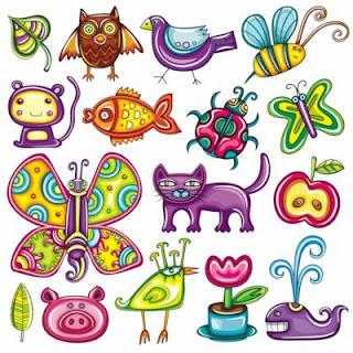 Ilustraciones de animales, aves e insectos.