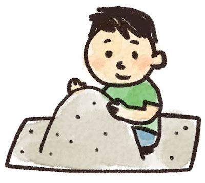 砂場で遊ぶ男の子のイラスト