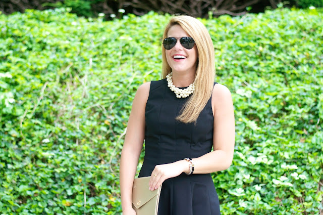 LBD and J. Crew hammock pearl necklace