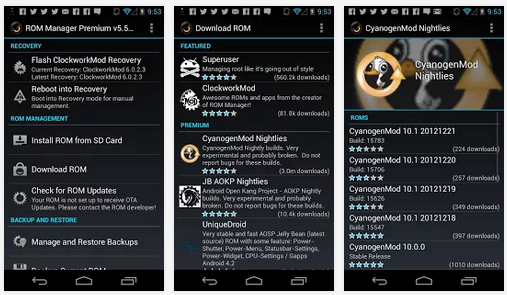 Download ROM Manager 5.5.3.7 APK The must have app for any Android root user