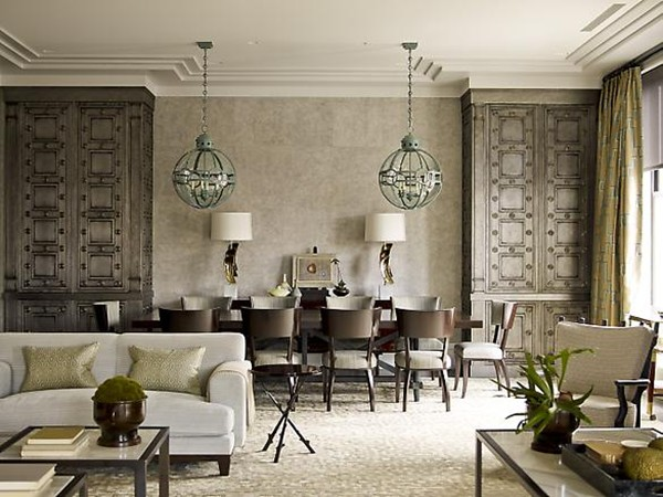 Eclectic Living Room and Dining Room Combo