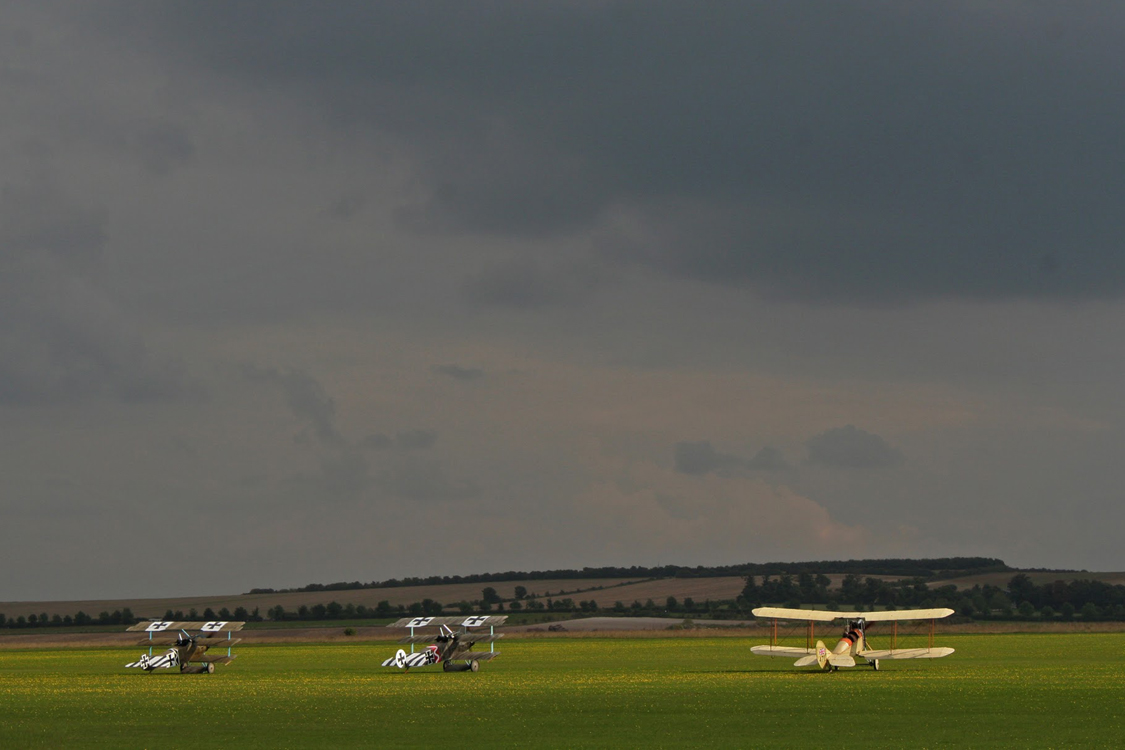 Duxford Airshow September 14th 2014 - Fokker Triplane and BE2 Replicas