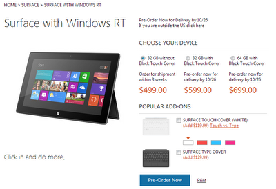 Microsoft Surface with Windows RT Preorder page