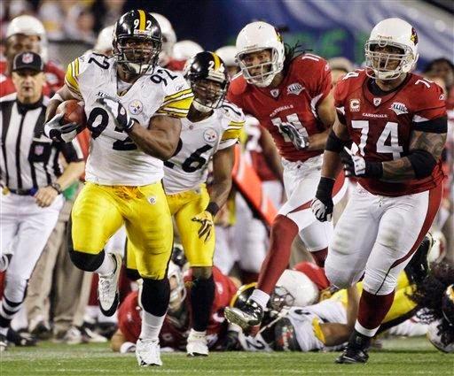 james harrison super bowl touchdown pick six steelers cardinals