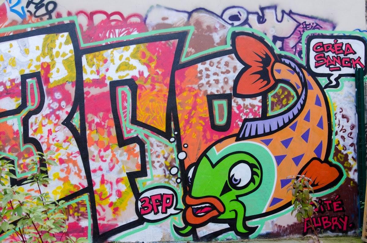 Paris - jardin de la cité Aubry - street art