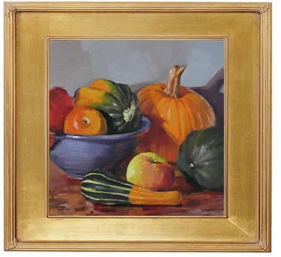 "Sedwick Studio Purple Bowl Of Plums Fruit Bowl Still: Sedwick Studio: ""October Arrangement"" Still Life Oil"