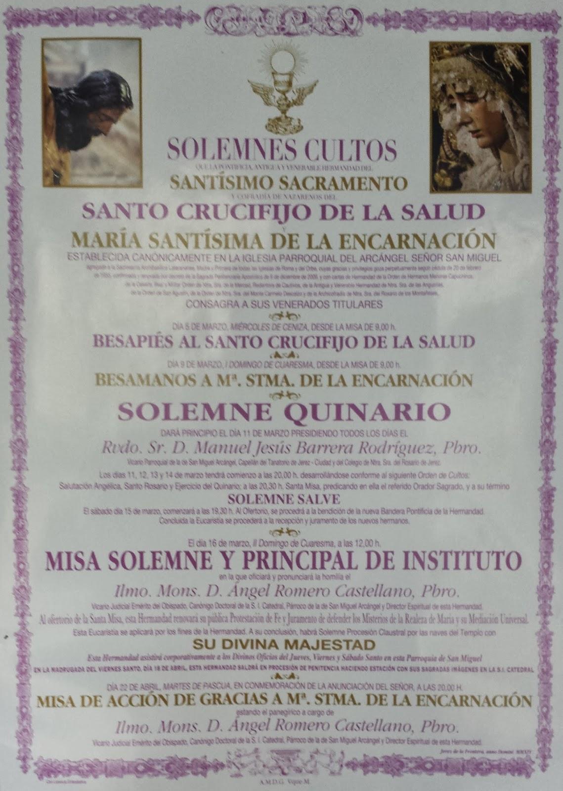 Cultos de la hermandad del Santo Crucifijo de la Salud y María Stma de la Encarnación