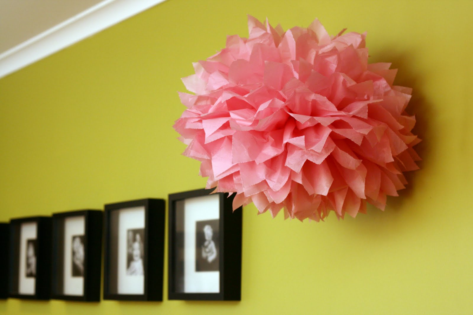 Rachelle rachelle tissue paper pom pom tutorial for Hanging pom poms from ceiling