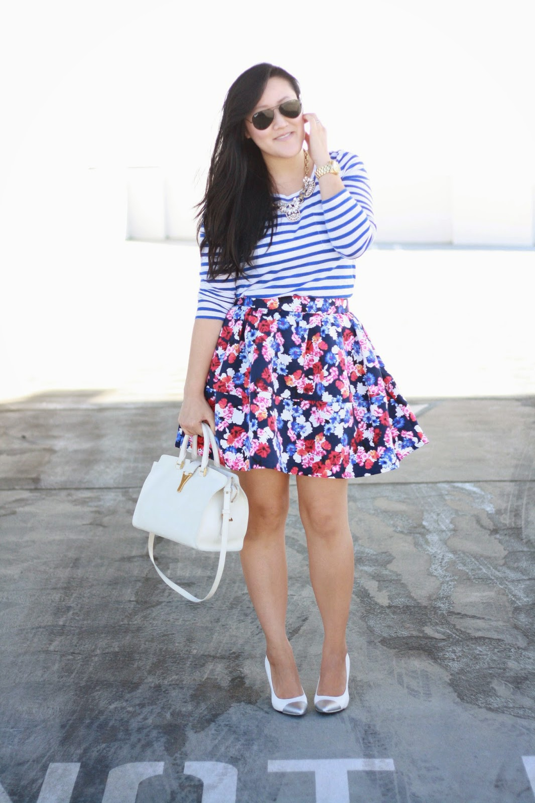 simplyxclassic, jcrew stripe top, express floral skirt, ray ban sunnies, michael kors watch, ysl cabas bag, saint laurent handbag, jcrew necklace, blogger, fashion blogger, southern california