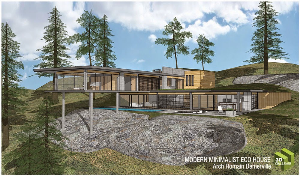 Sketchup texture 3d challenge august 2014 modern for Minimal house artists