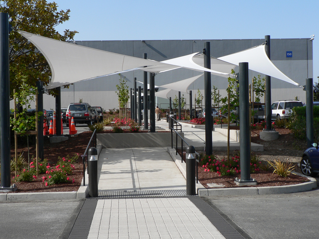 Ptfe car park shade structure in uae for Sun shade structure