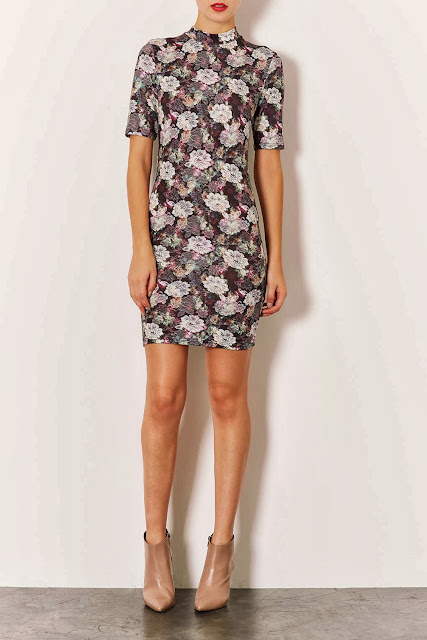 TOPSHOP high neck short sleeve lace print mini dress