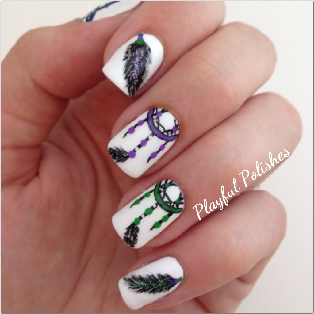 playful polishes dream catcher nail art. Black Bedroom Furniture Sets. Home Design Ideas