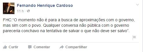 Fernando Henrique Cardoso negar o interesse em conversar com a gestão Dilma Rousseff