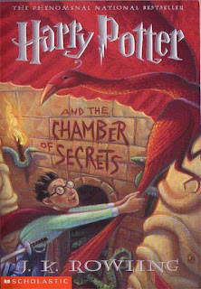 "Book cover: ""Harry Potter and the Chamber of Secrets"" by J.K. Rowling"